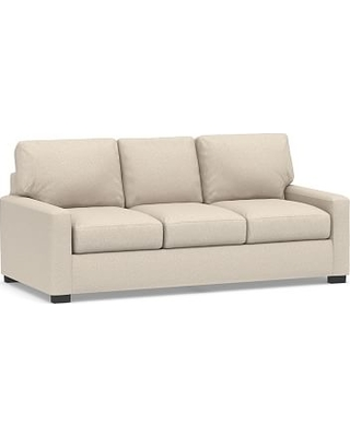"""Turner Square Arm Upholstered Sofa 84"""" without Nailheads, Down Blend Wrapped Cushions, Textured Twill Khaki"""