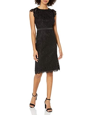 kensie Women's Lace Midi Length Party Sheath Dress with Tie Back, Black, Small