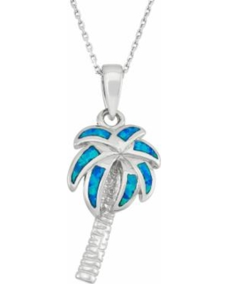 """Lab-Created Blue Opal Sterling Silver Palm Tree Pendant Necklace, Women's, Size: 18"""""""