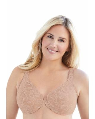 Plus Size Women's Glamorise Wonderwire Stretch Lace Front-Close Underwire Bra by Glamorise in Cafe (Size 36 C)
