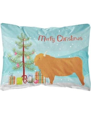 The Holiday Aisle Norfolk Highland Cow Christmas Indoor/Outdoor Throw Pillow BI148753