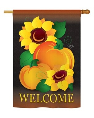Welcome Pumpkin 2-Sided Polyester 40 x 28 in. House Flag Breeze Decor