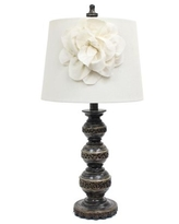 Elegant Designs Aged Bronze Stacked Ball Lamp with Couture Linen Flower Shade