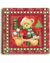 The Holiday Aisle Teddy with Train Graphic Art Plaque HLDY2683 Size: 18 H x 18 W
