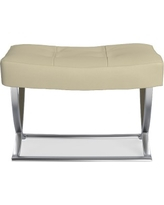 James Nickel Ottoman, Faux Suede, Solid, Champagne