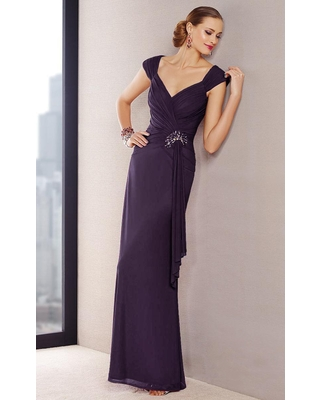 Alyce Paris - Black Label - 29698 Cap Sleeves A-line Ruched Gown