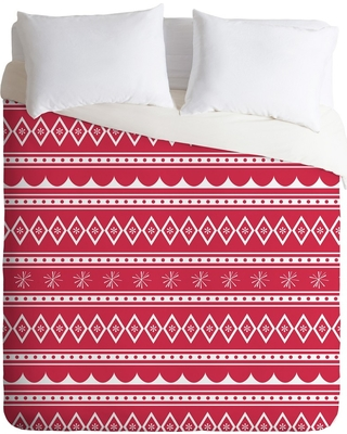 Red CraftBelly Retro Holiday Duvet Cover Set (Queen) - Deny Designs