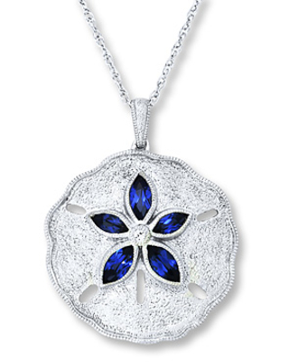 Lab-Created Sapphire Sand Dollar Necklace Sterling Silver