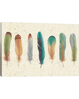 """East Urban Home 'Feather Tales VII' Graphic Art Print FTSC8156 Format: Canvas Size: 40"""" H x 26"""" W x 1.5"""" D"""