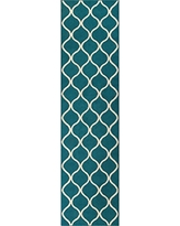 Runner Rug, Maples Rugs [Made in USA][Rebecca] 2'6 x 10' Non Slip Hallway Entry Area Rug for Living Room, Bedroom, and Kitchen - Teal/Sand