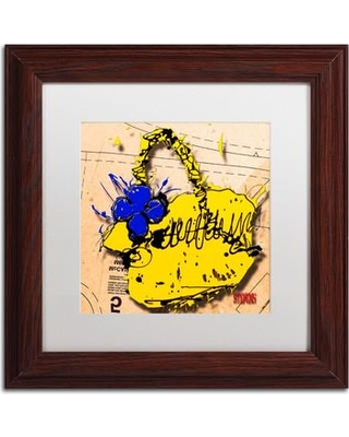 """Trademark Art 'Flower Purse Blue on Yellow' by Roderick Stevens Framed Graphic Art RS944-W1111MF / RS944-W1616MF Size: 11"""" H x 11"""" W"""