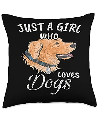 TeePrincess Cute Art Watercolor Just A Girl Who Loves Dogs Throw Pillow, 18x18, Multicolor