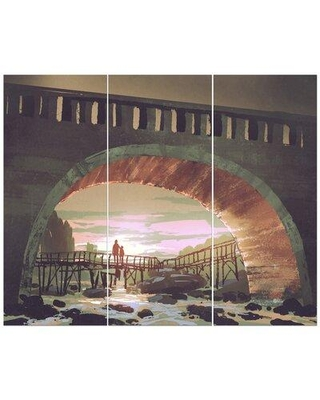 East Urban Home 'Old Bridge Under Sunset' Photographic Print Multi-Piece Image on Wrapped Canvas FCIV5565