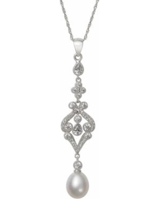 """""""Sterling Silver Cubic Zirconia & Freshwater Cultured Pearl Filigree Pendant Necklace, Women's, Size: 18"""", White"""""""