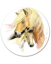 """'Horse Mom Baby Watercolor' Oil Painting Print on Metal Design Art Size: 23"""" H x 23"""" W x 1"""" D"""