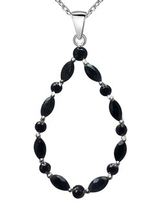 Sapphire, Ruby, Cubic Zirconia Sterling Silver Marquise Chain Pendant by Orchid Jewelry (Blue - Sapphire)