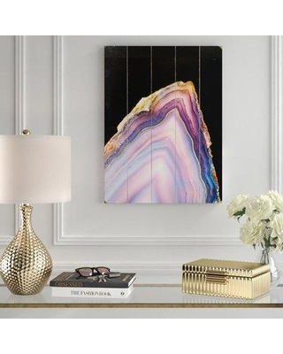 """Mercer41 'Geode Rainbow Gold' Graphic Art Print MCRF1964 Size: 24"""" H x 18"""" W x 1"""" D Format: Planked Wood"""