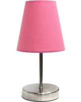Simple Designs 10.5 in. Sand Nickel Mini Basic Table Lamp with Pink Fabric Shade