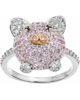 Sophie Miller Two Tone Sterling Silver Cubic Zirconia Pig Ring, Women's, Size: 5, Pink