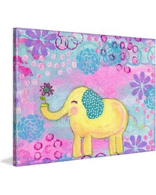 """Marmont Hill 'Yellow Elephant' by Jill Lambert Painting Print on Wrapped Canvas MH-SHNJIL-67-C- Size: 30"""" H x 45"""" W x 1.5"""" D"""