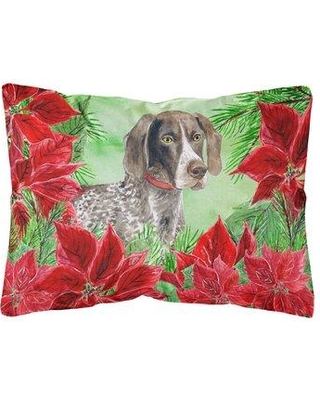 Check Out Deals On The Holiday Aisle Orsi German Shorthaired Pointer Poinsettias Indoor Outdoor Throw Pillow Polyester Polyfill Polyester Polyester Blend Wayfair
