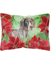 The Holiday Aisle Orsi German Shorthaired Pointer Poinsettias Indoor/Outdoor Throw Pillow BI148781
