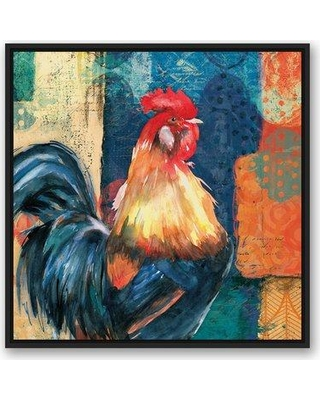 """August Grove 'Vibrant Colorful Rooster' Print on Canvas AGGR8670 Size: 30"""" H x 30"""" W Format: Framed"""