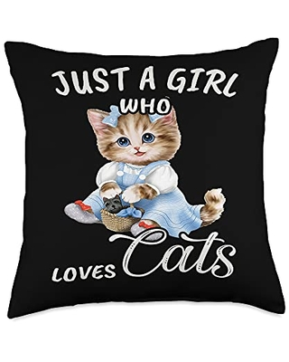 TeePrincess Cute Art Watercolor Just A Girl Who Loves Cats Throw Pillow, 18x18, Multicolor