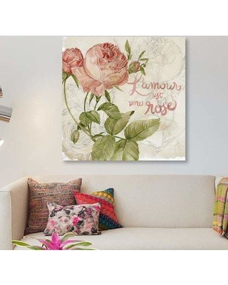 "East Urban Home 'Rose Romance I' Graphic Art Print on Canvas EBHS6610 Size: 26"" H x 26"" W x 1.5"" D"