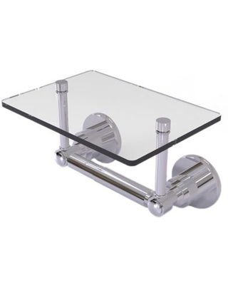 Allied Brass Washington Square Toilet Paper Holder with Glass Shelf in Polished Chrome