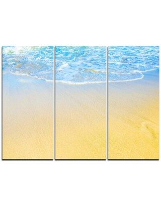Design Art Smooth Sea Surf Over Blue Waters - 3 Piece Graphic Art on Wrapped Canvas Set PT10750-3P