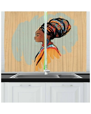 African 2 Piece Kitchen Curtain East Urban Home