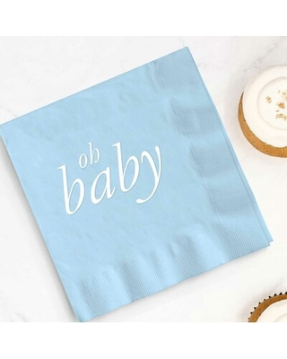 """Oh Baby Shower Beverage 5"""" Napkin The Party Aisle™ Color: Blue"""