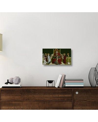 """East Urban Home 'The Trinity with the Virgin Saints John the Evangelist Stephen and Lawrence and a Donor' Oil Printing Print on Canvas ETUC6467 Size: 13"""" H x 22"""" W x 1.5"""" D"""