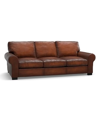 Turner Roll Arm Leather Sofa 91 Down Blend Wred Cushions Burnished Saddle