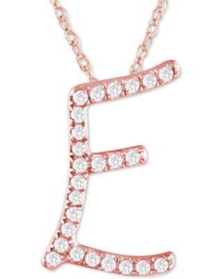 "Diamond Initial Pendant Necklace (1/10 ct. t.w.) in 14k Rose Gold Over Sterling Silver, 16"" + 2"" Extender"