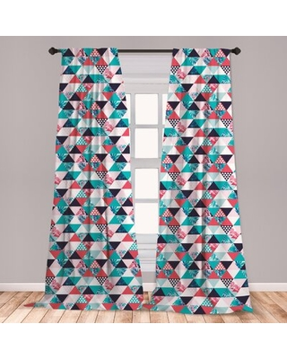 Ambesonne Flamingo Curtains, Horizontal Triangles Geometrical Frames With Exotic Beach Elements Mosaic Design, Window Treatments 2 Panel Set For Livin