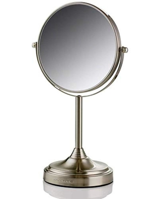 Ovente Ovente LED Tabletop Makeup Mirror, 7 Inch, Dual-Sided 1x/7x  Magnification, Nickel Brushed (MNLCT70BR1X7X) from Home Depot | Real Simple
