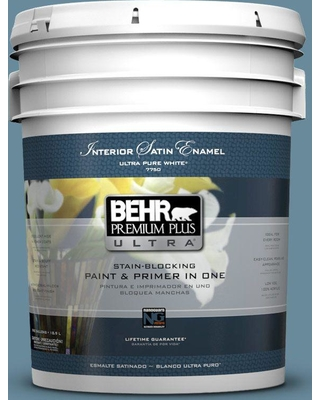 BEHR Premium Plus Ultra 5 gal. #bic-22 Relaxed Blue Satin Enamel Interior Paint and Primer in One