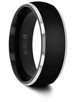 THORSTEN - ESPRIT Domed Black Tungsten Ring with Polished Beveled Edges - 6mm