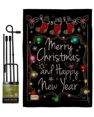 Deals For Breeze Decor Chalkboard Merry Christmas Winter Impressions 2 Sided Burlap 19 X 13 In Flag Set In Black Wayfair Bd Xm Gs 114145 Ip Db D Us17 Bd