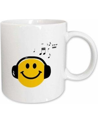 """East Urban Home Smiley Face and Musical Notes Coffee Mug W001135391 Size: 4.65"""" H x 4.9"""" W x 3.33"""" D"""