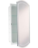 Headwest V-Groove Beveled Mirror Recessed Medicine Cabinet, 16-Inch by 30-Inch