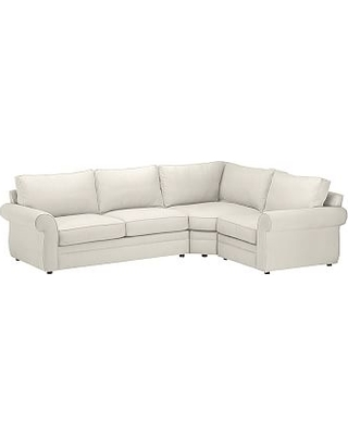Pearce Roll Arm Upholstered Left 3-Piece Corner Wedge Sectional, Down Blend Wrapped Cushions, Performance Everydaysuede(TM) Stone