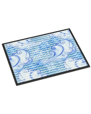 Savings On Watercolor Abstract Waves Non Slip Outdoor Door Mat East Urban Home Mat Size Rectangle 18 X 27