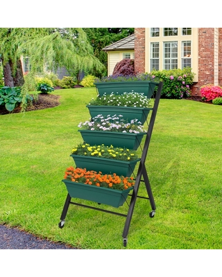 Kinbor 5-Tier Vertical Raised Garden Bed, Elevated Freestanding Planter Box with 5 Containers, Herb Flower Plant Stand On Wheels (green)