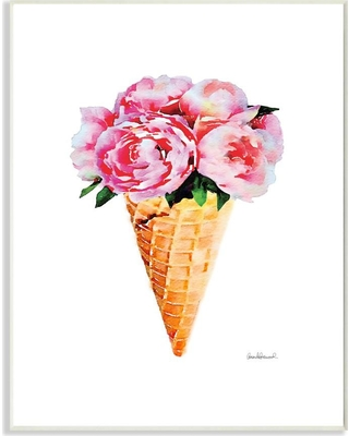 """Stupell Industries 10 in. x 15 in. """"Minimal Icecream Cone with Pink Peonies"""" by Artist Amanda Greenwood Wood Wall Art, Multi-Colored"""