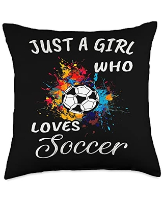 TeePrincess Cute Art Watercolor Just A Girl Who Loves Soccer Throw Pillow, 18x18, Multicolor
