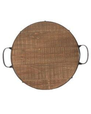 """Gracie Oaks Deandra Round Serving Tray, Wood in Brown, Size 2""""H X 17""""W X 14""""D 
