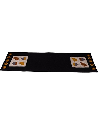 """Home Collections by Raghu 14""""x36"""" Acorn & Oak Leaf Black Table Runner"""